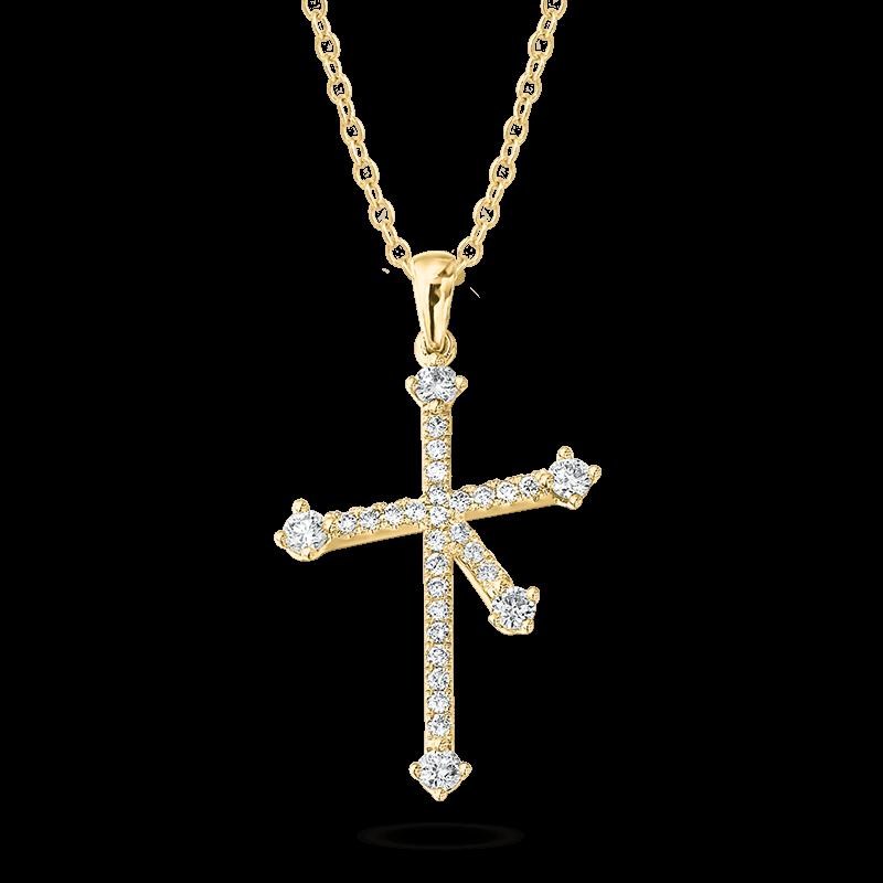 Southern Cross Diamond Micro Set Pendant In Yellow Gold Shimansky