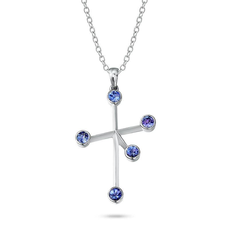 Southern Cross Tube Set Tanzanite White Gold Pendant Shimansky
