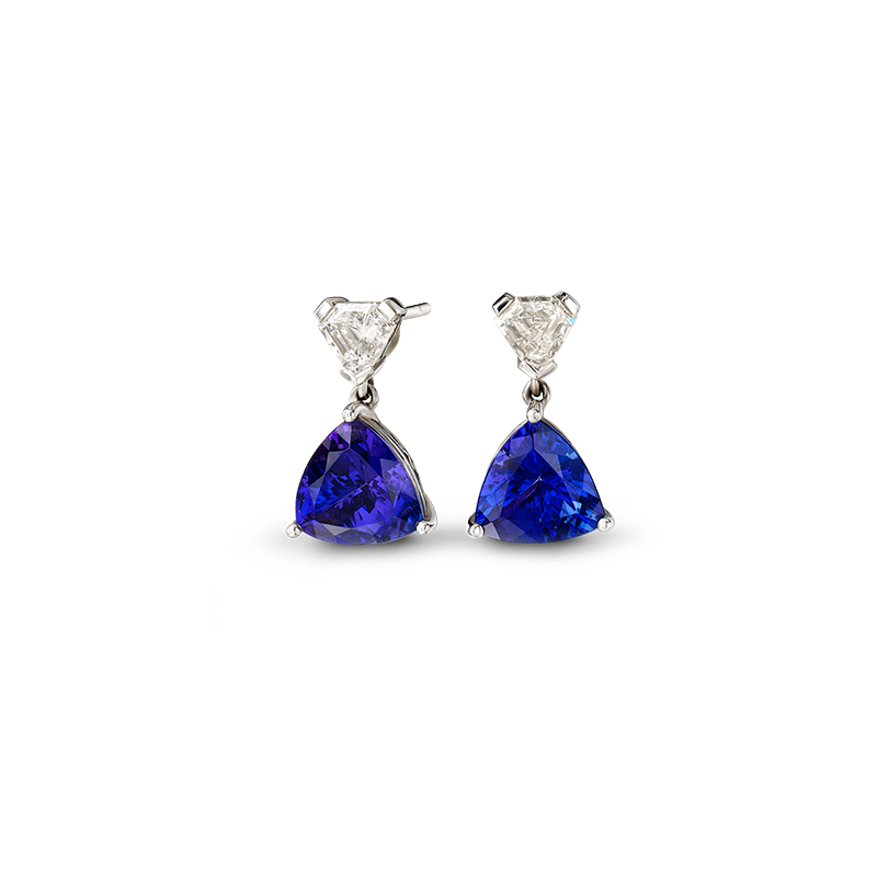 Shimansky Trilliant Claw Set Tanzanite Drop Earrings