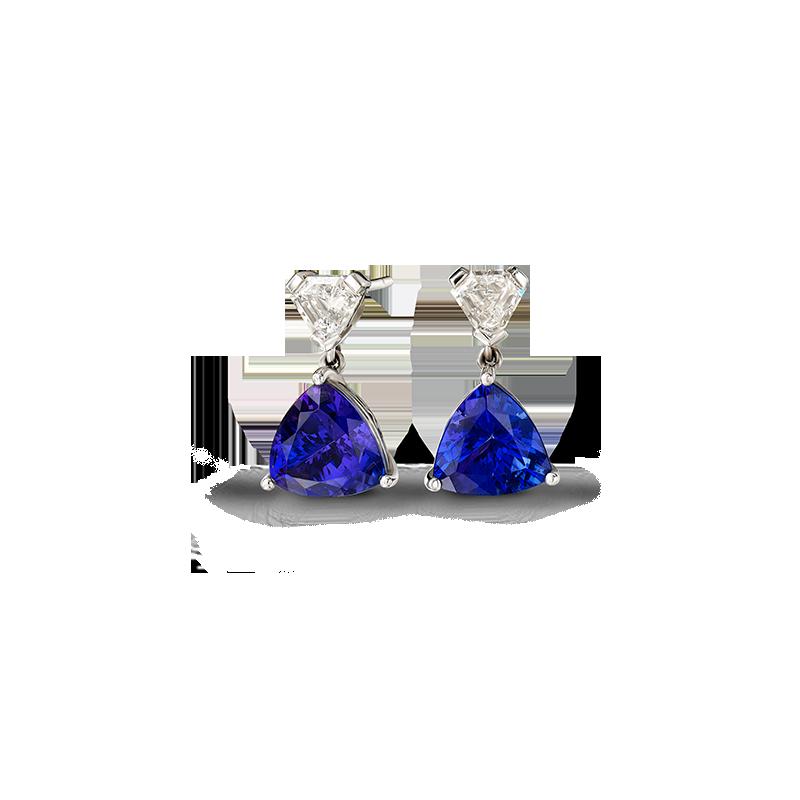 Shimansky Trilliant Claw Set Tanzanite Drop Earrings