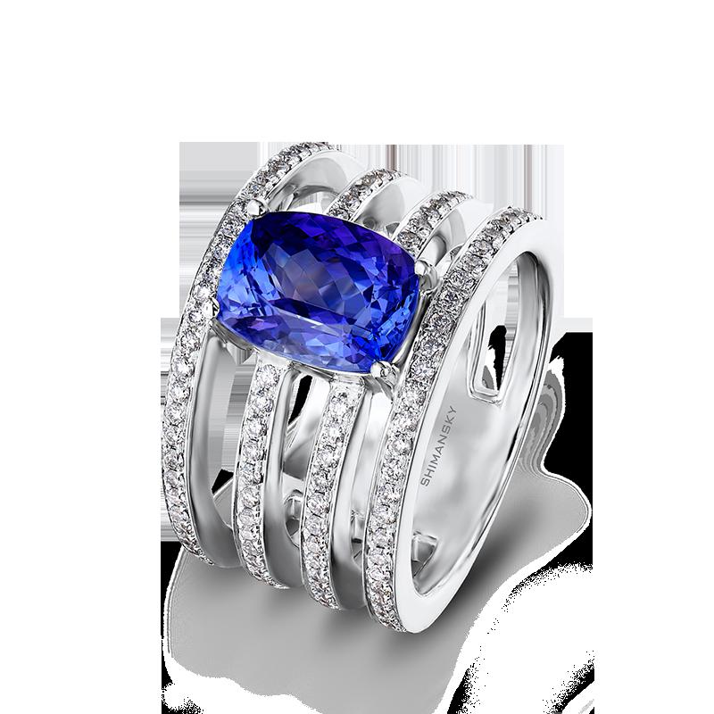 Shimansky Cushion Cut Tanzanite Ring with Pavé Diamonds