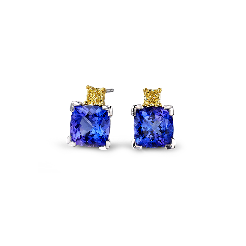 08-cushion-tanzanite-and-fancy-yellow-diamond-claw-set-earrings