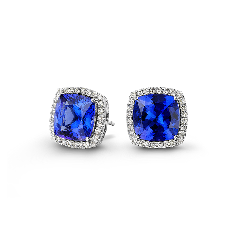Shimansky Cushion Cut Tanzanite Earrings with Micro Set Diamonds