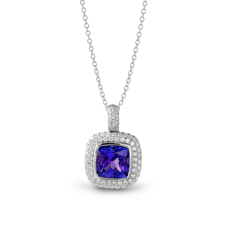 Shimansky Cushion Tanzanite Pendant with Micro Pavé Diamonds
