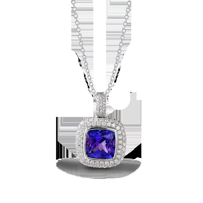 Shimansky Cushion Tanzanite Pendant with Micro Pavé Diamonds