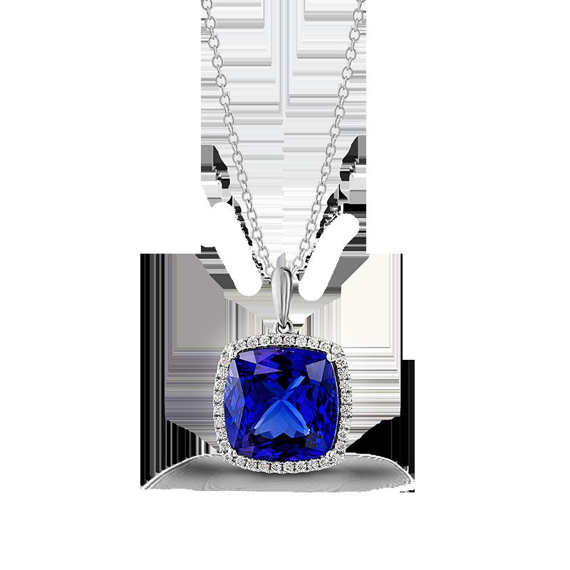Shimansky Cushion Tanzanite Pendant with Micro Set Diamonds