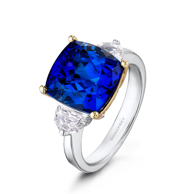 Shimansky Cushion Cut Tanzanite Ring with Diamonds