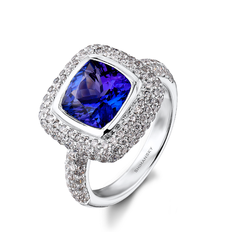 Cushion Cut Tanzanite Ring with Micro Pavé Diamonds