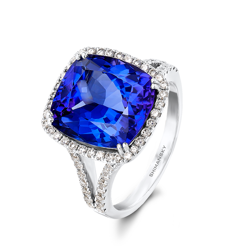 Shimansky Cushion Cut Tanzanite Split Shank Ring