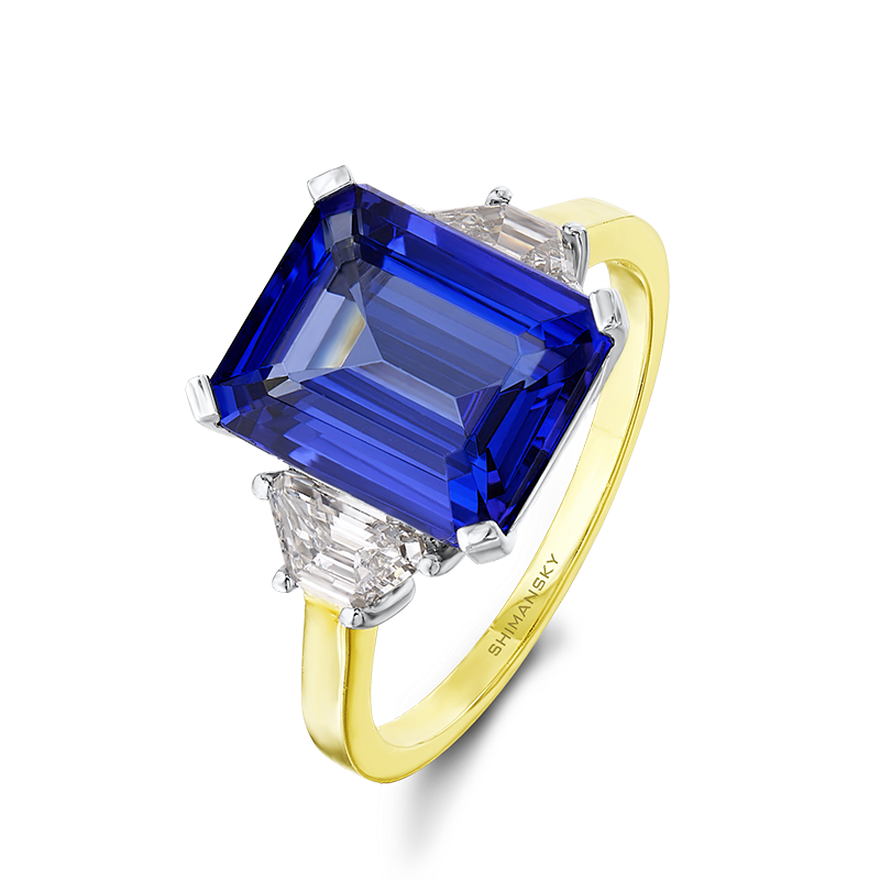 Shimansky Emerald Cut Tanzanite Ring with Diamonds