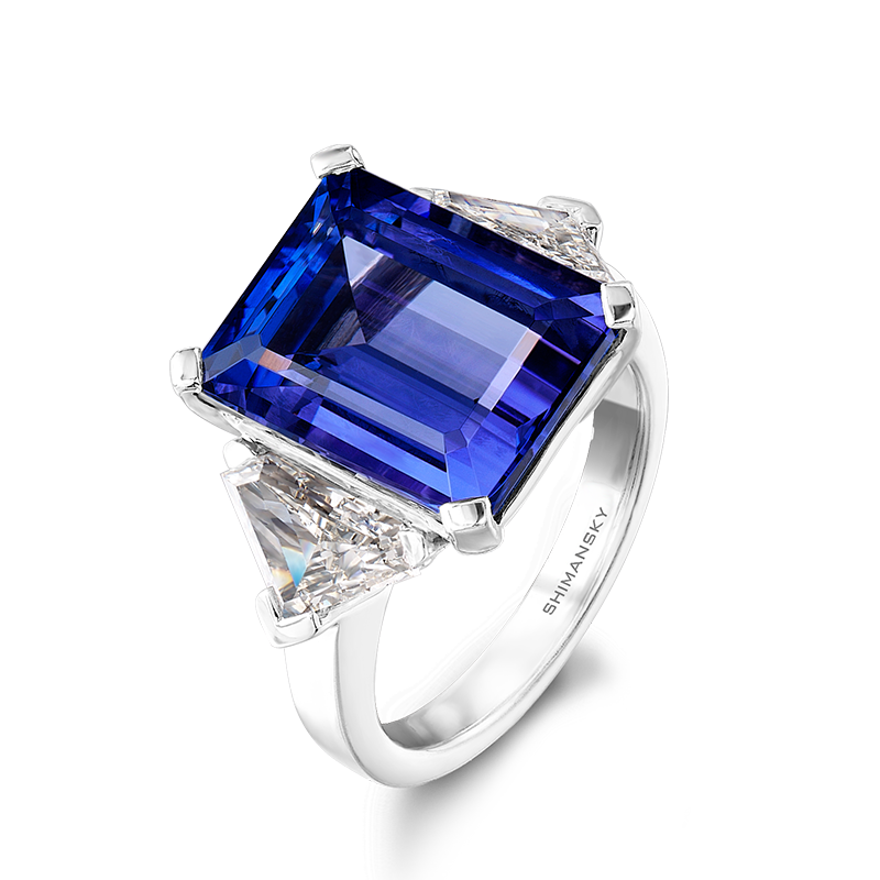 Shimansky Emerald Cut Tanzanite and Diamond Ring