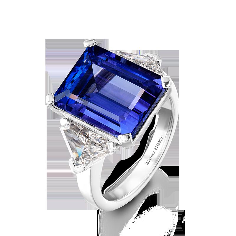Shimansky Emerald Cut Tanzanite and Diamond Ring