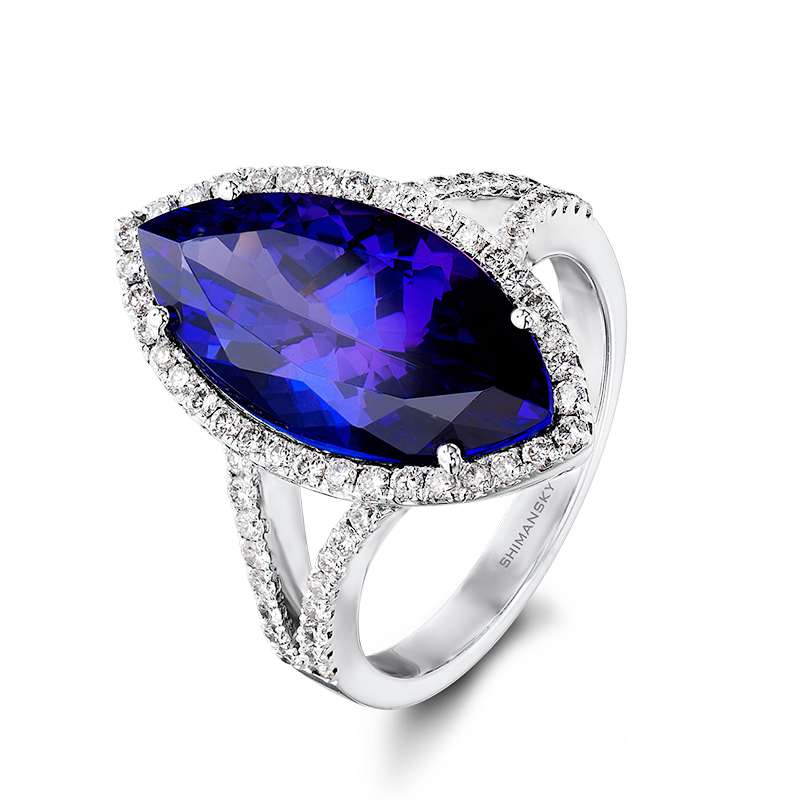 Shimansky Marquise Cut Tanzanite And Diamond Ring