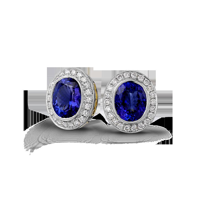 Shimansky Oval Tanzanite Earrings with Micro Pavé Diamonds