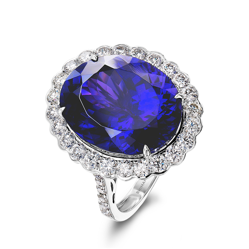 Shimansky Oval Cut Tanzanite Ring with Round Brilliant Diamonds