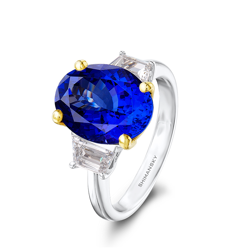 Shimansky Oval Cut Tanzanite Ring with Tapered Baguette Diamonds