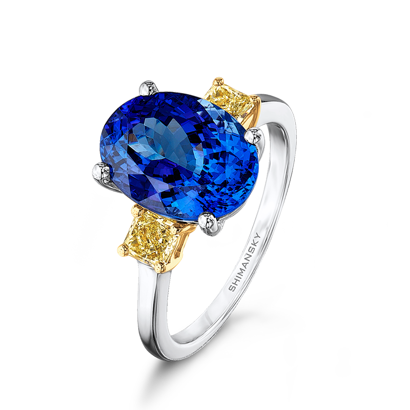 Shimansky Oval Cut Tanzanite Ring with Fancy Yellow Diamonds