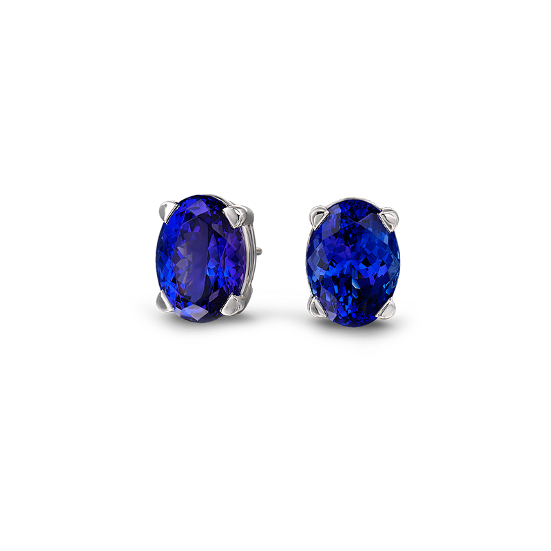 Shimansky Oval Cut Tanzanite Claw Set Solitaire Earrings