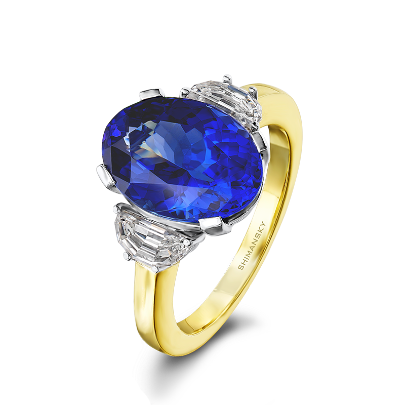 Shimansky Oval Cut Tanzanite Trilogy Ring in Yellow Gold