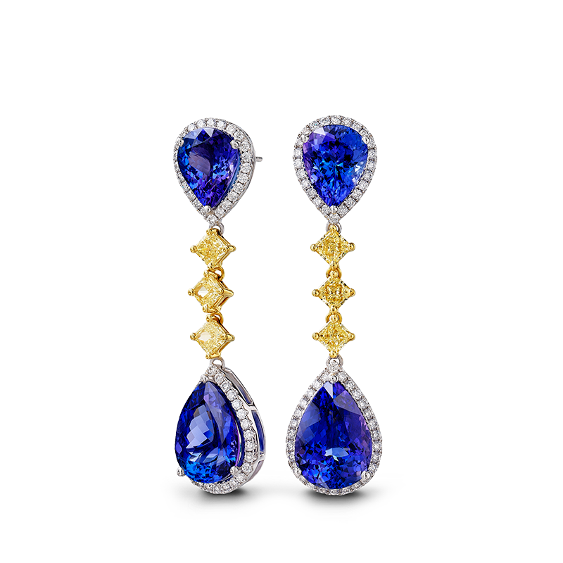 Shimansky Pear Tanzanite and Fancy Yellow Diamond Earrings