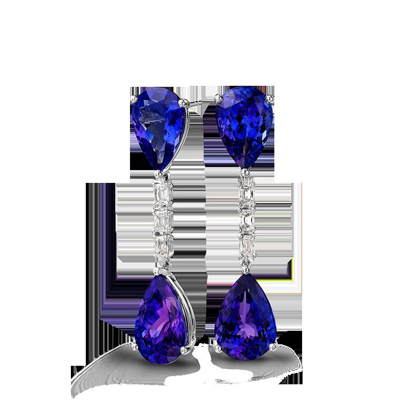 Shimansky Pear Shaped Tanzanite Earrings set with Diamonds
