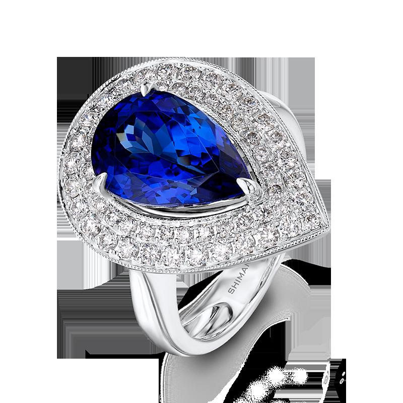 Shimansky Pear Shaped Tanzanite Ring with Micro Pavé Diamonds
