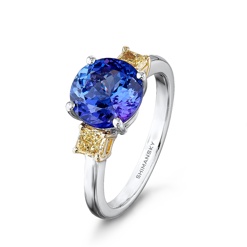 Shimansky Round Brilliant Tanzanite and Fancy Yellow Diamonds Ring
