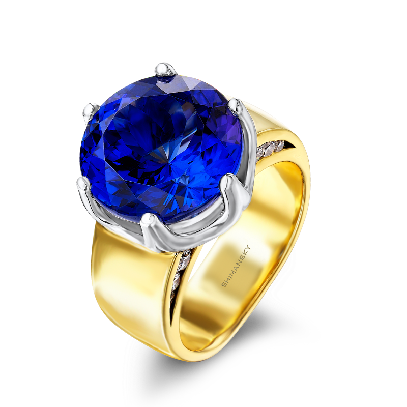 Shimansky Round Brilliant Cut Tanzanite Ring in Yellow Gold