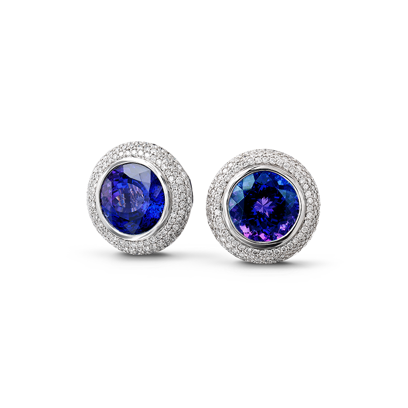 Shimansky Round Tanzanite Earrings with Micro Pavé Diamonds