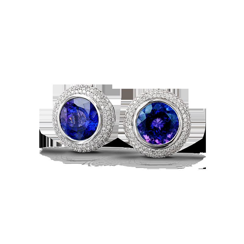Shimansky Round Tanzanite Earrings with Micro Pavé Diamonds