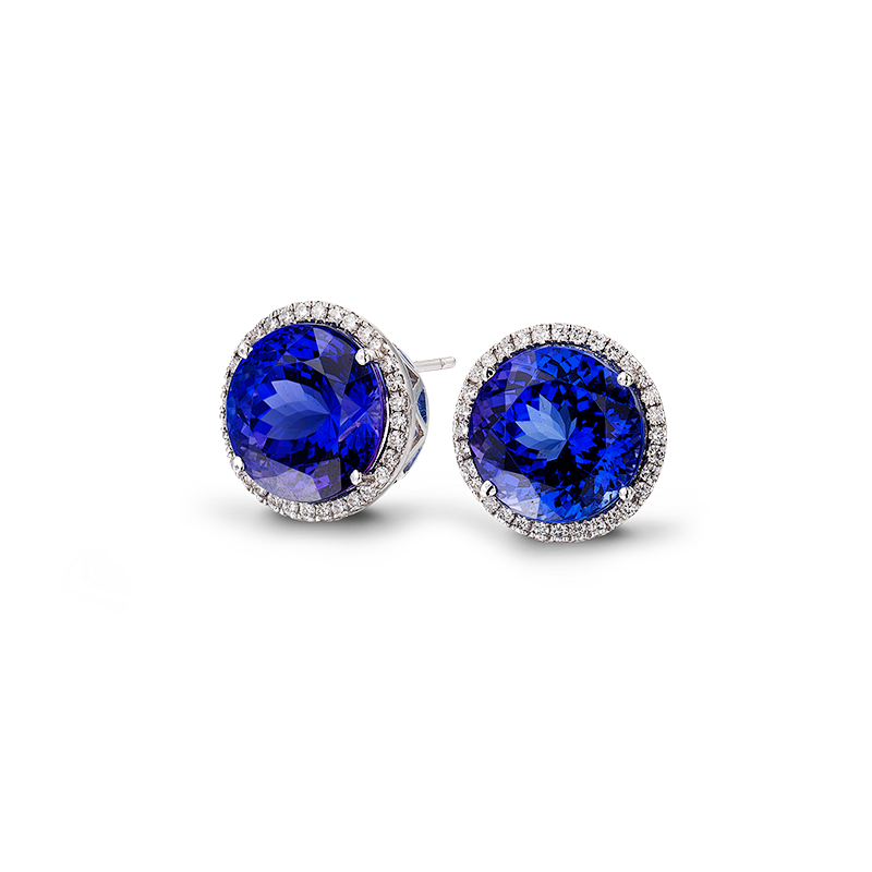 Shimansky Round Brilliant Tanzanite and Diamond Earrings