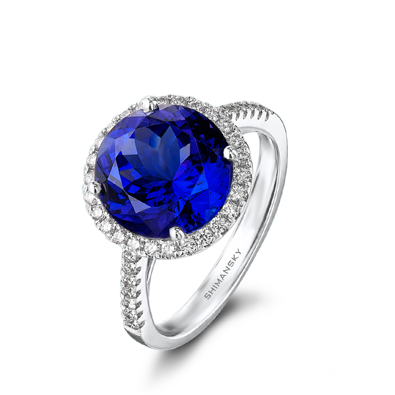 Shimansky Tanzanite Round Brilliant Cut Ring with Micro Set