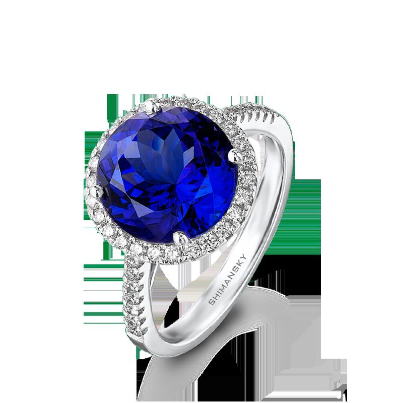 Shimansky Tanzanite Round Brilliant Cut Ring with Micro Set