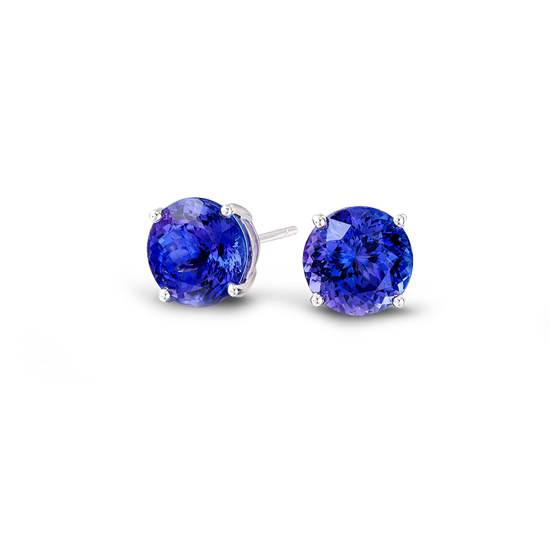 Shimansky Round Brilliant Claw Set Tanzanite Earrings