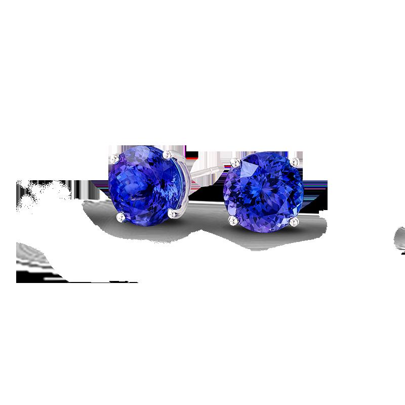 Shimansky Round Brilliant Claw Set Tanzanite Earrings
