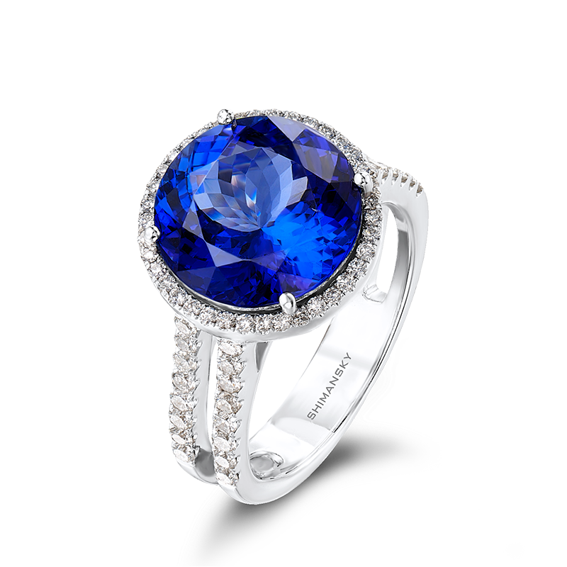 Shimansky Round Cut Tanzanite Ring with Micro Set Diamonds