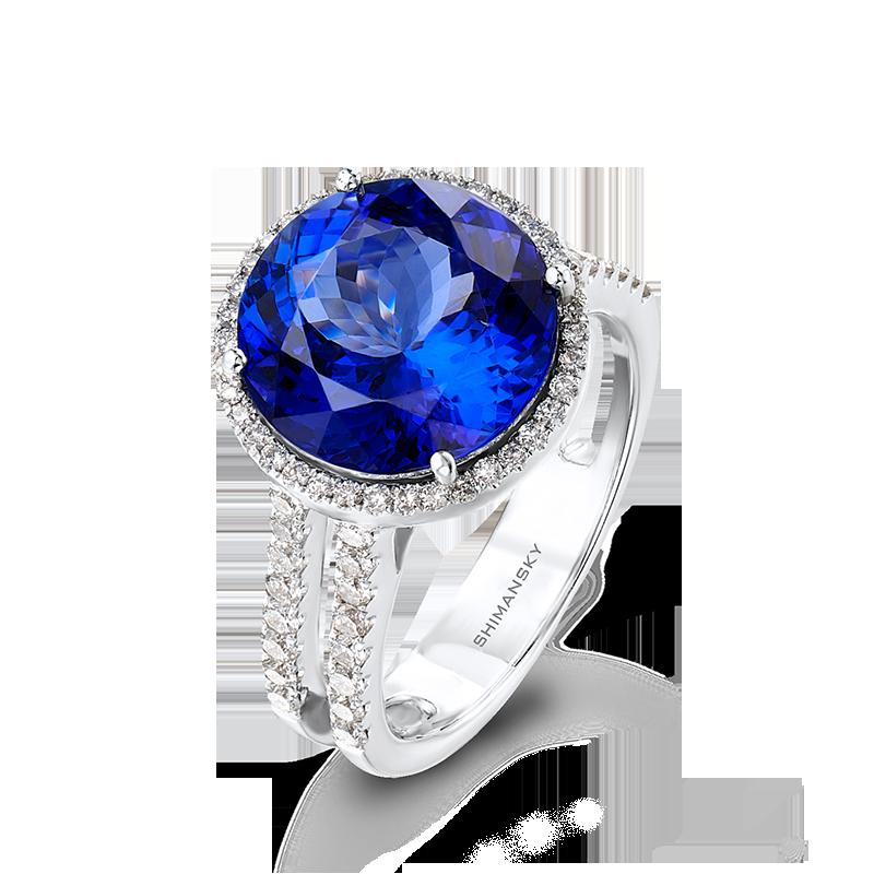 Shimansky Round Cut Tanzanite Ring with Micro Set Diamonds