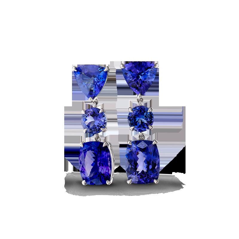 Shimansky Tanzanite Three Stone Drop Earrings