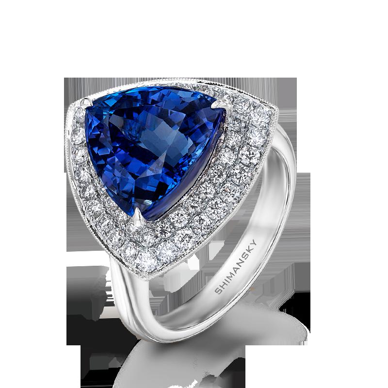 Shimansky Trilliant Tanzanite & Micro Set Diamond Ring