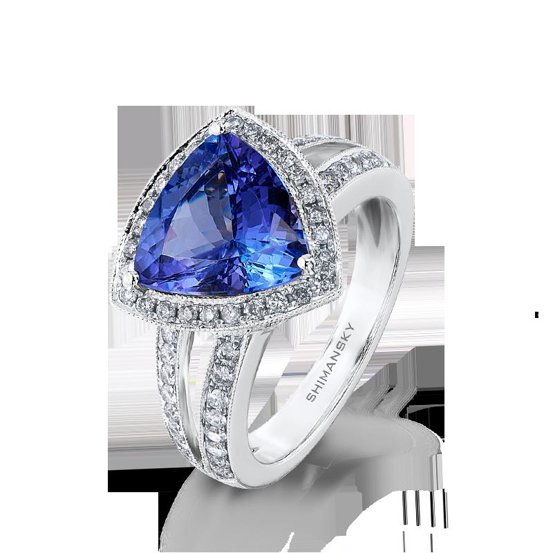 Shimansky Trilliant Cut Split Shank Ring with Diamonds