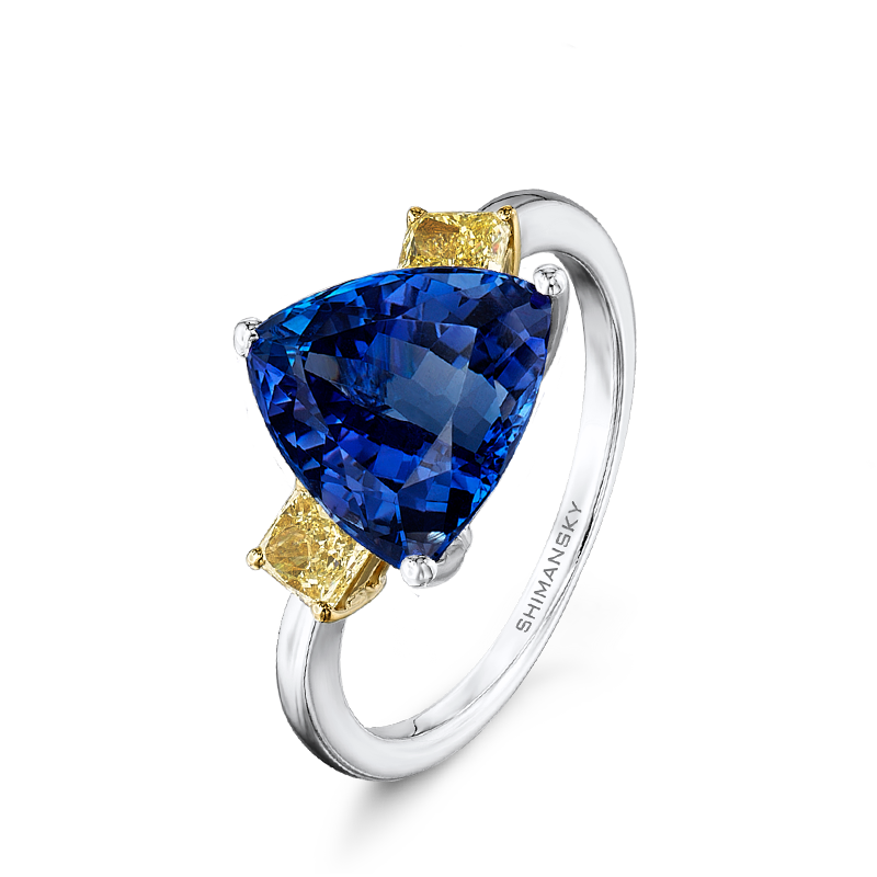 Shimansky Trilliant Tanzanite Ring with Fancy Yellow Diamonds