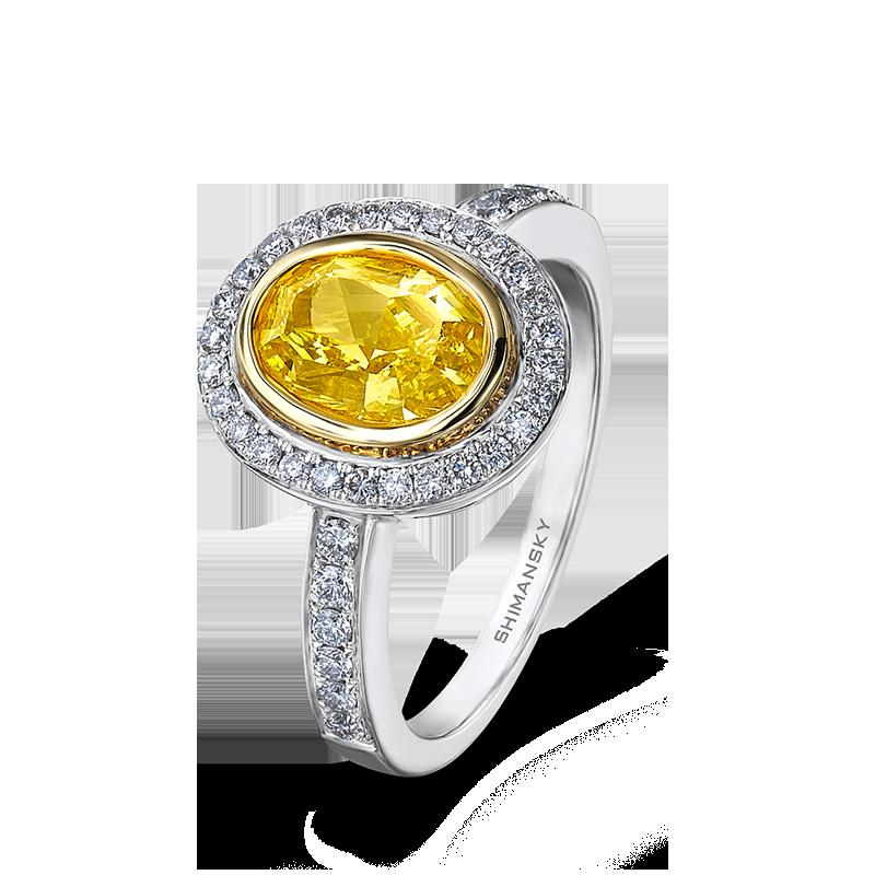 Shimansky Tube & Pave Fancy Yellow Diamond Ring