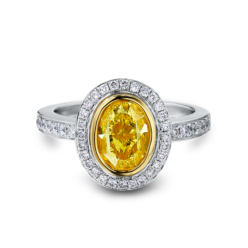 Shimansky Tube & Pave Fancy Yellow Diamond Ring