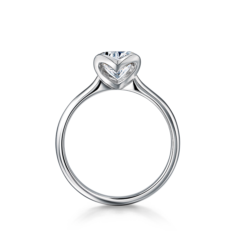 Two Hearts Diamond Ring in White Gold