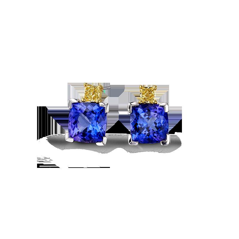 08-cushion-tanzanite-and-fancy-yellow-diamond-claw-set-earrings