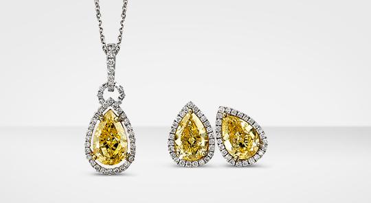 Shimansky Fancy Yellow Pear Shape Diamond Jewellery