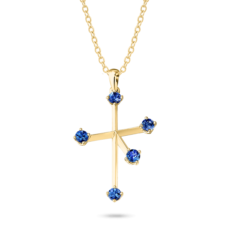 Southern-Cross-claw-set-tanzanite-pendant-yellow-gold-01